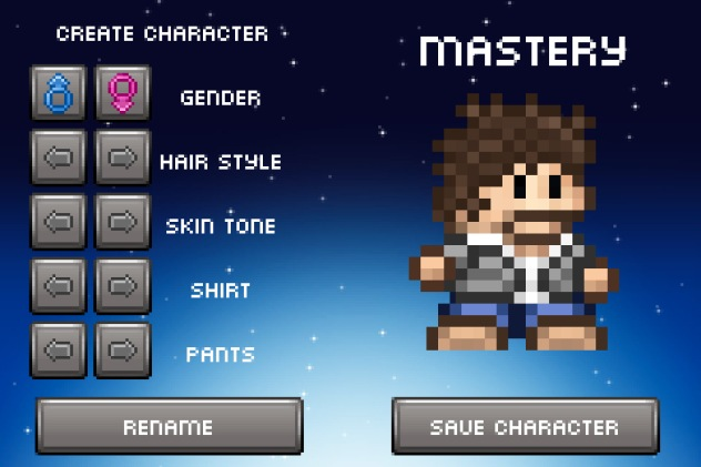 Junk Jack X - Character Creation Screen